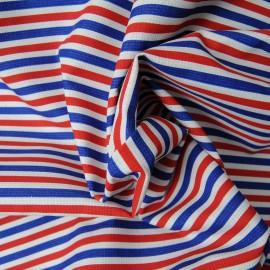 Coupon toile viscose et polyester rayée bleu blanc rouge1m40 en 155cm n°1079