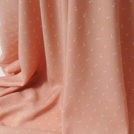 Coton fin saumon en 150cm, motifs mini tulipes ivoires n°207