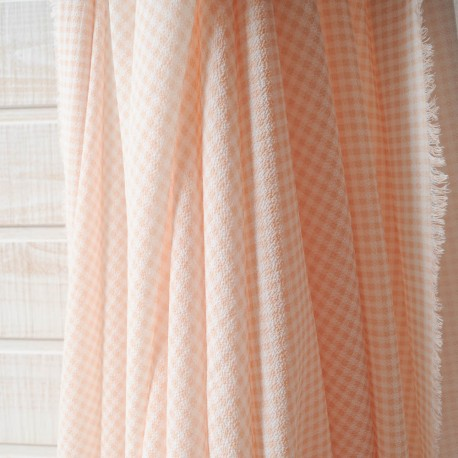 Coupon crépon polyester vichy beige blanc 2m80 en 150cm n°10142