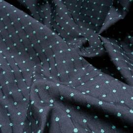 Au mètre Polyester et laine bleu marine pois verts en 150cm n°10146