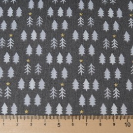 Au mètre Coton Noël OEKO-TEX fond taupe brulé sapins or et blancs en 150cm