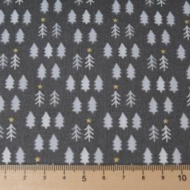 Au mètre Coton Noël fond blanc sapins dorés et gris en 150cm