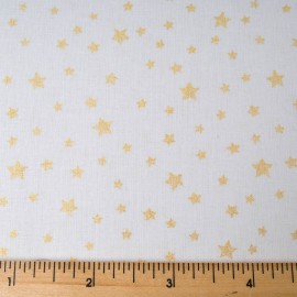 Au mètre Coton Noël OEKO-TEX mini étoile or fond blanc en 150cm