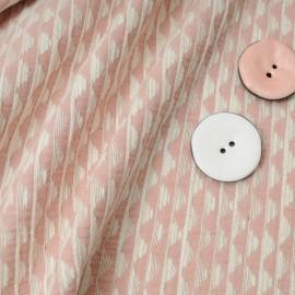 Au mètre, superbe Jacquard Coton rose et blanc en 150cm n°10201