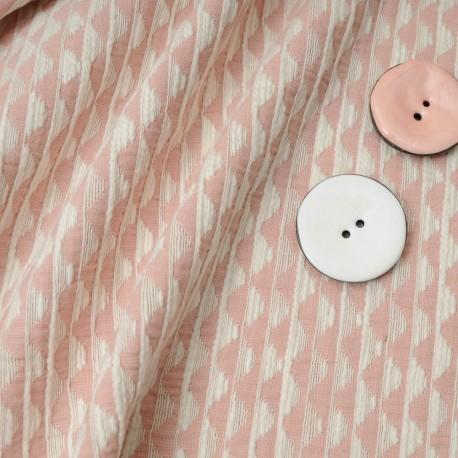 Au mètre , superbe Jacquard Coton rose et blanc en 150cm n°10201