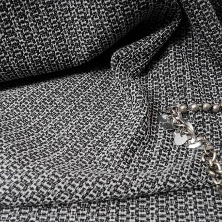 Au mètre tissu Jacquard noir et blanc en 150cm n°10199