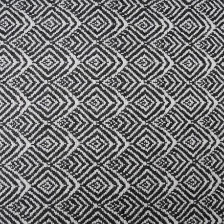 Au mètre lainage jacquard losange gris foncé et blanc en 147cm n°10200