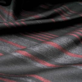 Coupon jersey lourd rayé gris bordeaux fond noir 1m40 en 150cm n°10217