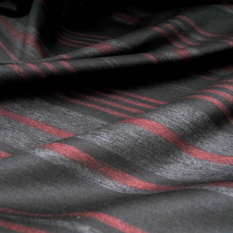 Au mètre jersey lourd rayé gris bordeaux fond noir en 150cm n°10217