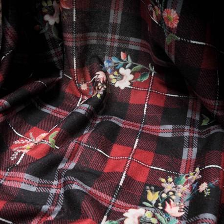 Au mètre maille lainage douce imprimé écossais avec fleurs bordeaux et noir en145cm