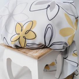 Coupon Toile polyester Pétales gris 1m40 en 150cm