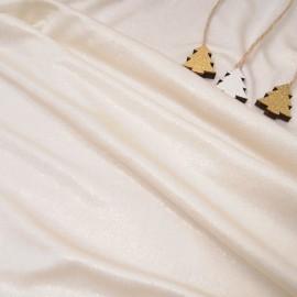 Au mètre fine maille polyester et Lycra ivoire lamé or en 155cm n°10242