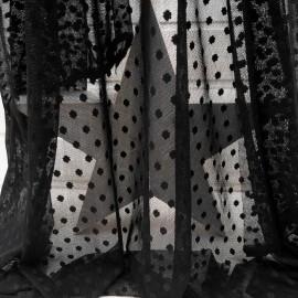 Au mètre voile Plumetis pois noirs polyester en 145cm n°10243