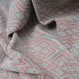 Coupon maille Jacquard gris losanges rouges lurex 2m60 en 148cm n°10248
