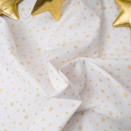 Mini coupon toile coton 50x 72cm étoiles dorées fond blanc