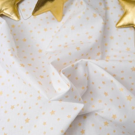 Mini coupon toile coton 50x 72cm Renne céladon et or
