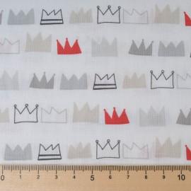 Mini coupon toile coton 50x 72cm fond blanc couronne rouge et grise