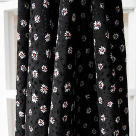 Au mètre Viscose légère noire à fleurette Haut de gamme en 145cm n°10252