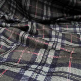 Coupon maille lainage douce imprimé écossais à carreaux verts et noirs 2m40 en150cm n°10254