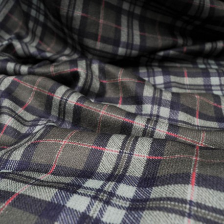 Au mètre maille lainage douce imprimé écossais à carreaux verts et noirs en150cm n°10254