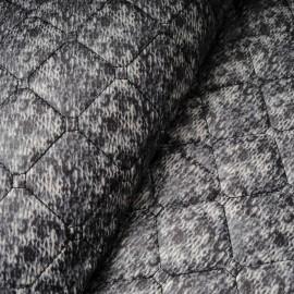 Tissu doudoune matelassée réversible gris, noir , bleu en 145cm n°10218