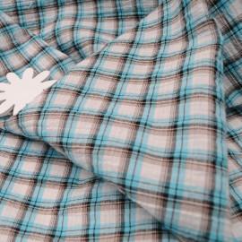 Au mètre, Coton seersucker carreaux turquoises en 150cm n°10259