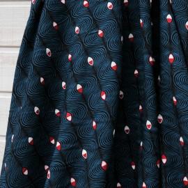 Au mètre Coton Haute Couture noir et turquoise Oeil en 145cm n°10279