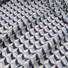 Au mètre Crêpe polyester bleu blanc en 155cm n°10291