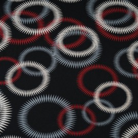 Au mètre Jersey Viscose fond noir à cercles bordeaux, gris et beige en 150cm n°10284