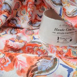 Au mètre Coton et polyester fond blanc, motifs orangers en 150cm n°10308