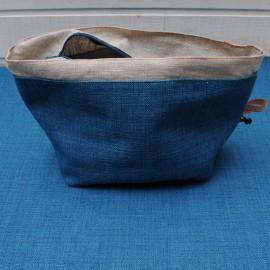 Coupon Toile Lin doublé noir Polyester 60 x 55 cm bleu canard