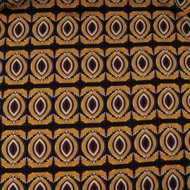 Coupon microfibre polyester fond moutarde imprimé ethnique marron 1m50 en 150cm n°10329