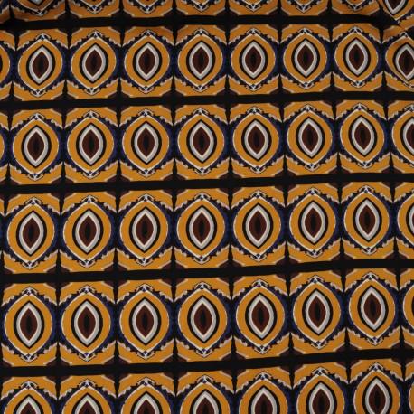 Au mètre microfibre polyester fond moutarde imprimé ethnique marron en 150cm n°10329