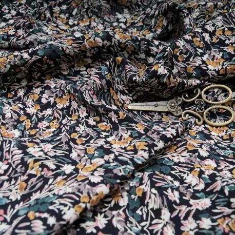 Au mètre microfibre polyester fond noir à fleur en ocre, kaki et beige en 150cm n°10331