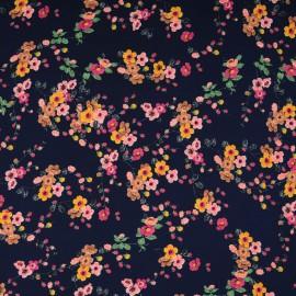 Coupon microfibre polyester fond bleu marine à fleur en marron, rose et orange1m68 en 150cm n°10333