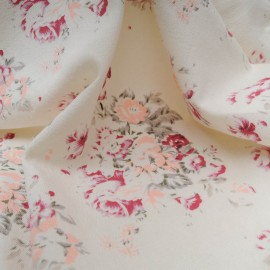Au mètre molleton coton polyester blanc cassé pivoine rose en 185cm N°10339