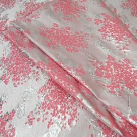 Au mètre Magnifique Brocart haut de gamme rose et argent, assez fin en 145cm n°10341