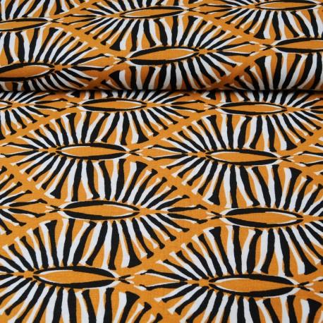 Au mètre tissu viscose ethnique noir, ocre et blanc en 145cm n°10365