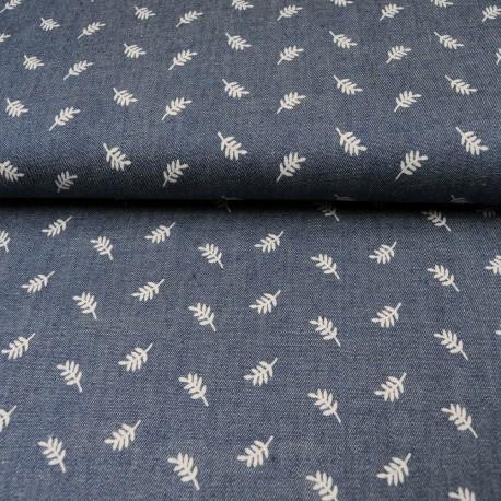 Tissu jean chambray motif feuille 100% Coton en 140cm n°10374