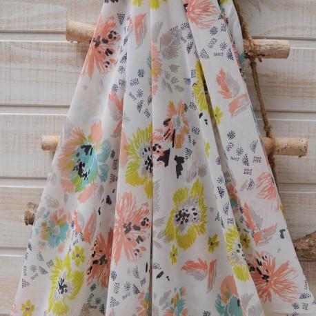 Au mètre voile polyester blanc cassé fleur anis et abricot en 150cm n° 10377