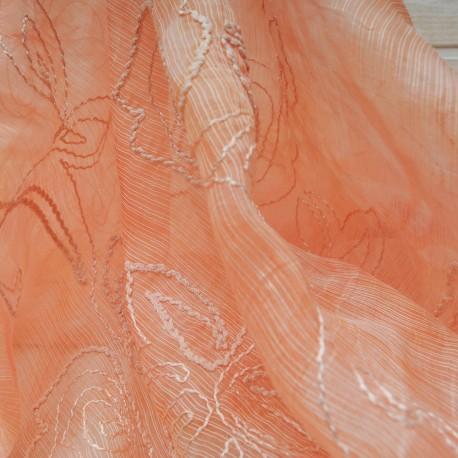 Au mètre voile polyester brodé corail en 145cm n° 10383