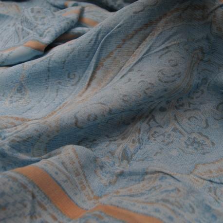 Au mètre voile polyester bleu motifs ethniques gris en 135cm n° 10380