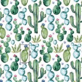 Coton OEKO TEX cactus mexicain vert et bleu ,fond blanc en 160cm