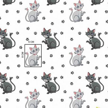 Coton OEKO TEX chat gris assis fond blanc en 160cm