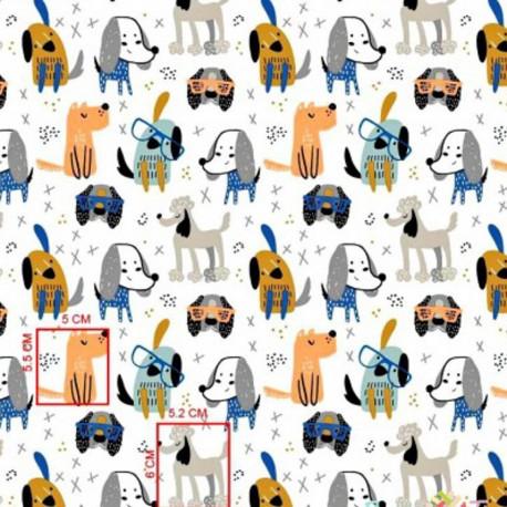 Coton OEKO TEX chiens gris et oranges fond blanc en 160cm