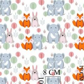 Coton OEKO TEX elephants gris renard lapin fond blanc en 160cm