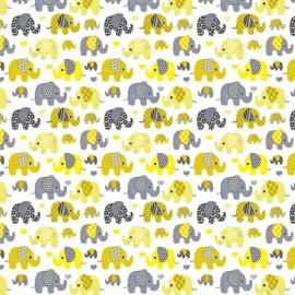Coton OEKO TEX elephants jaune et gris fond blanc en 160cm