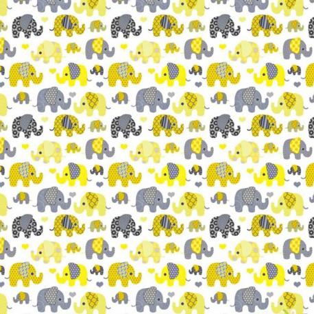 Coton OEKO TEX elephant jaune et gris fond blanc en 160cm