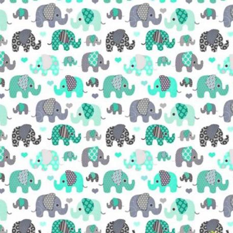 Coton OEKO TEX elephant menthe et gris fond blanc en 160cm
