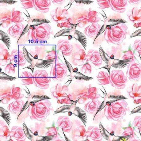 Coton OEKO TEX hirondelle et rose fond blanc en 160cm